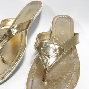 Prada. Gold metallic flat thong sandals. Size 8.